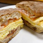 picture of egg, bacon and cheese on ciabatta bun