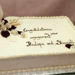 picture of a engagement cake with marzipan flowers