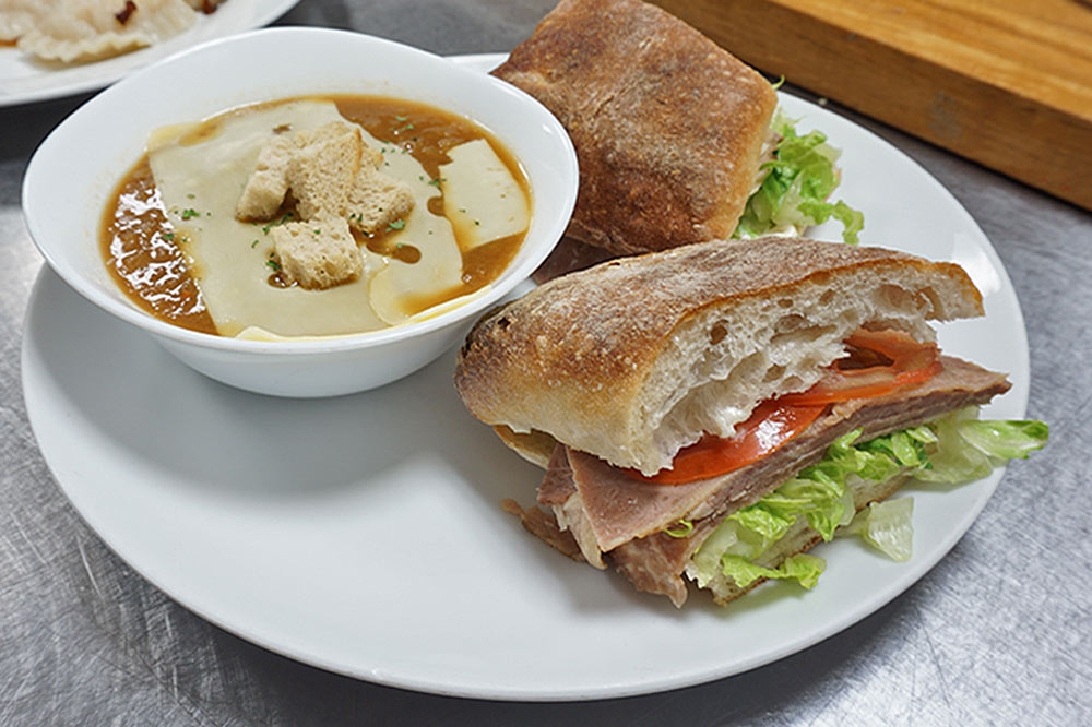 picture of a soup and a sandwich